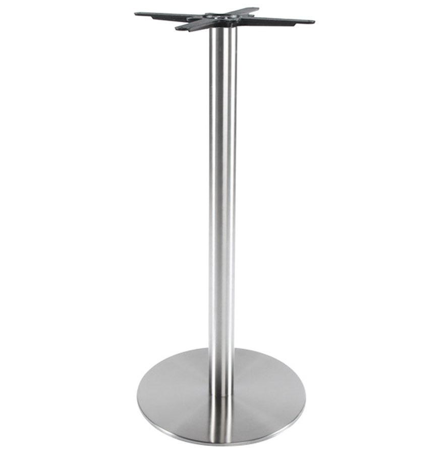Pied de table PLATO 110 acier brossé base ronde pour table haute