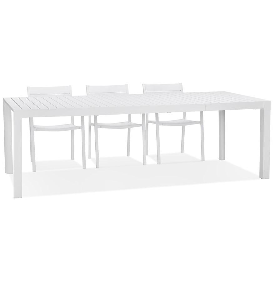 Table de jardin extensible \'SAMUI\' en aluminium blanc mat - 180(240)x100 cm