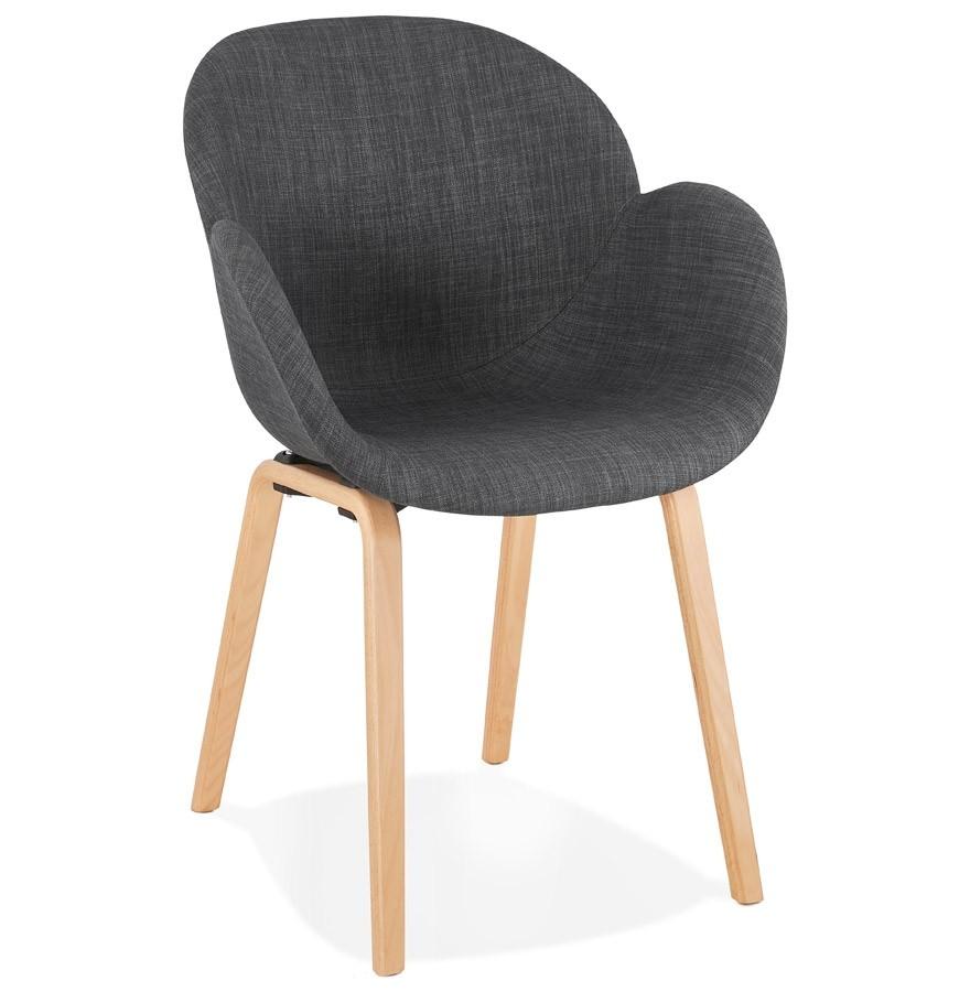 Chaise avec accoudoirs samy en tissu gris chaise scandinave for Chaise avec pied en bois