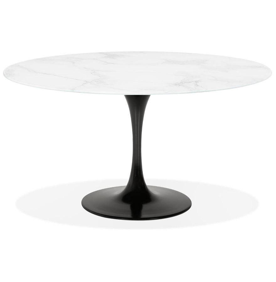 Table à Manger Shadow Ronde En Verre Blanc Effet Marbre Et Pied Central Noir ø 140 Cm