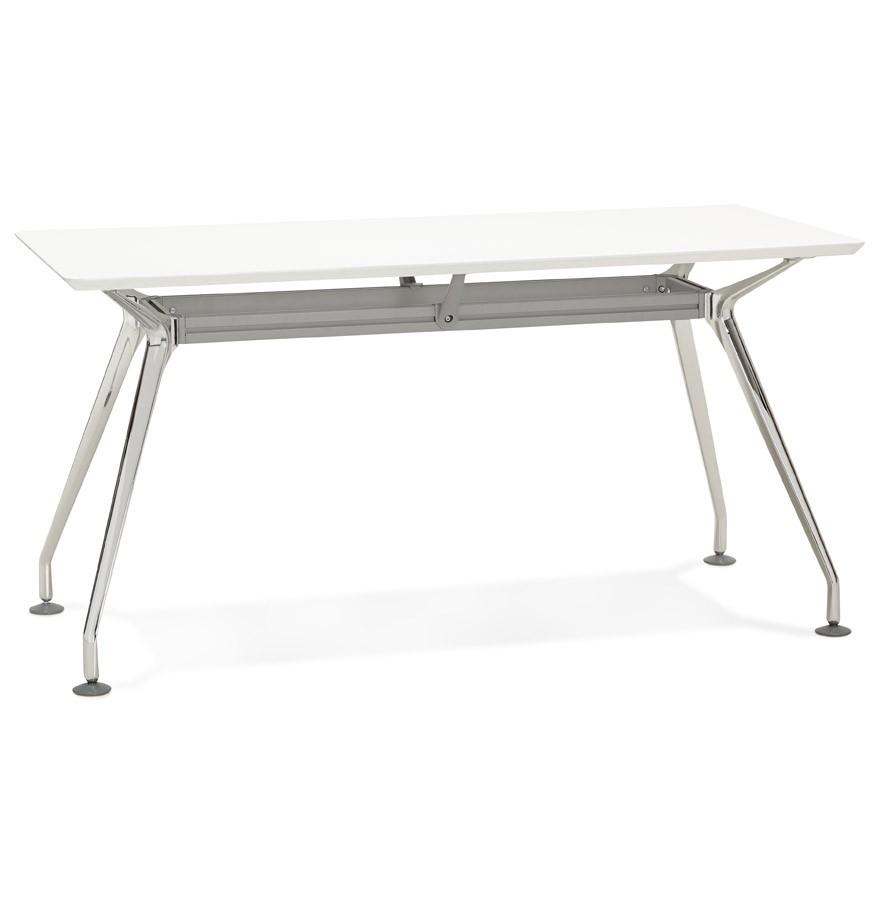 Bureau droit design station avec plateau en bois blanc for Plateau bureau bois blanc