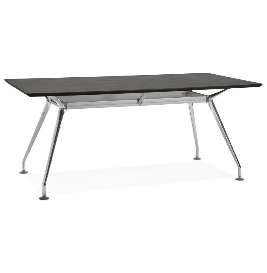 Grand bureau station table de r union en bois noir for Grand bureau noir