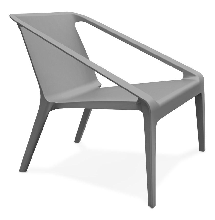 Fauteuil lounge de jardin SUNNY gris en mati¨re plastique