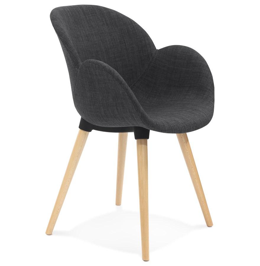 Chaise Design Scandinave TAPIOCA En Tissu Gris Fonce