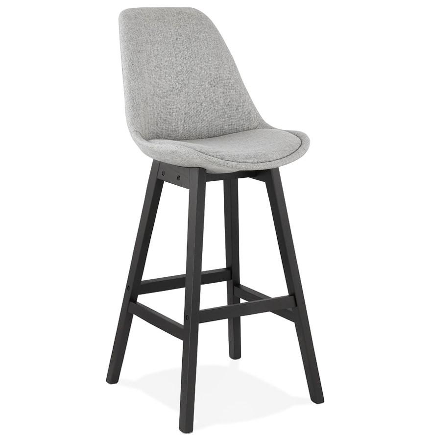 tabouret de bar design teresa en tissu gris et pied en bois noir