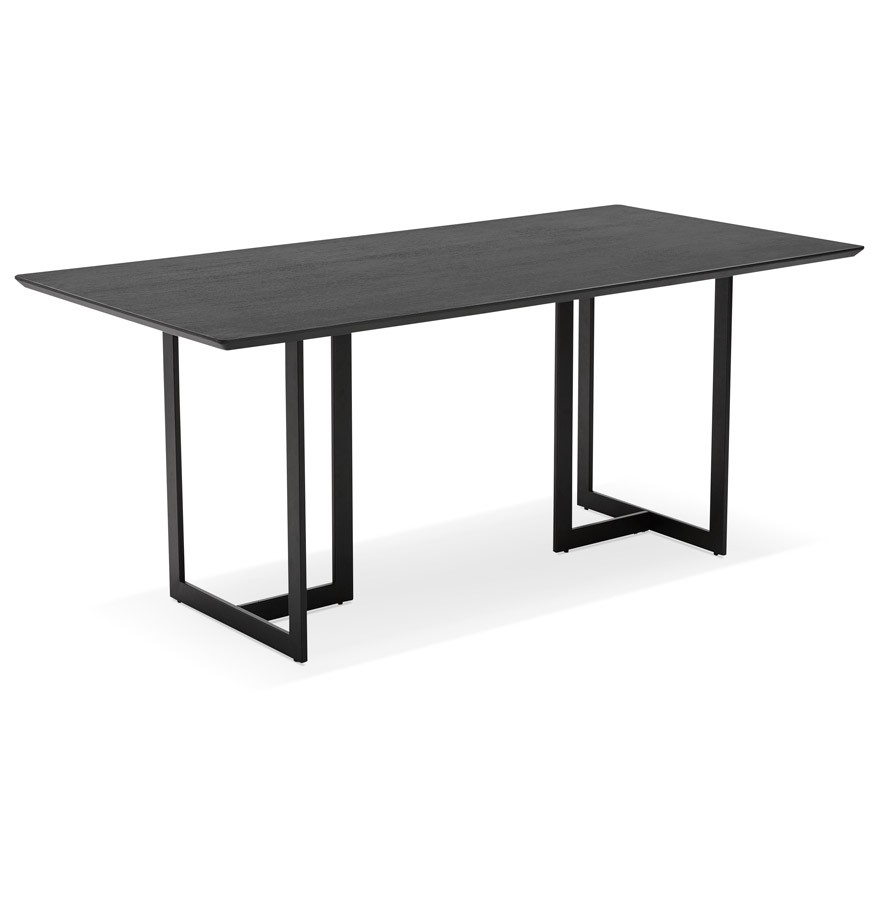 Table design titus en bois noir bureau moderne 180x90 cm for Table bureau bois