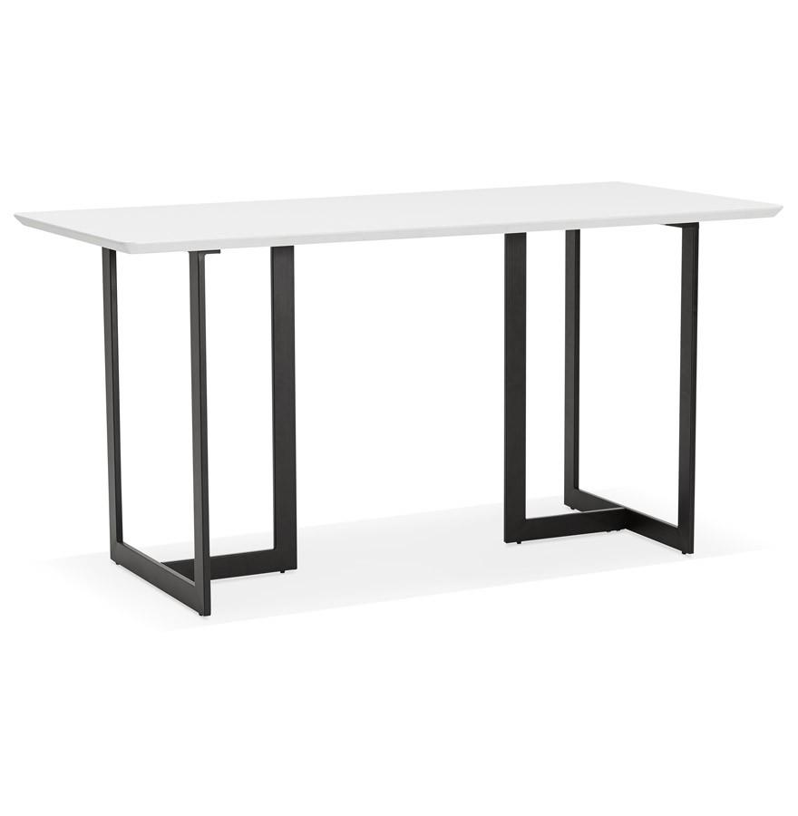 Table design titus en bois blanc bureau moderne 150x70 cm for Table bureau design