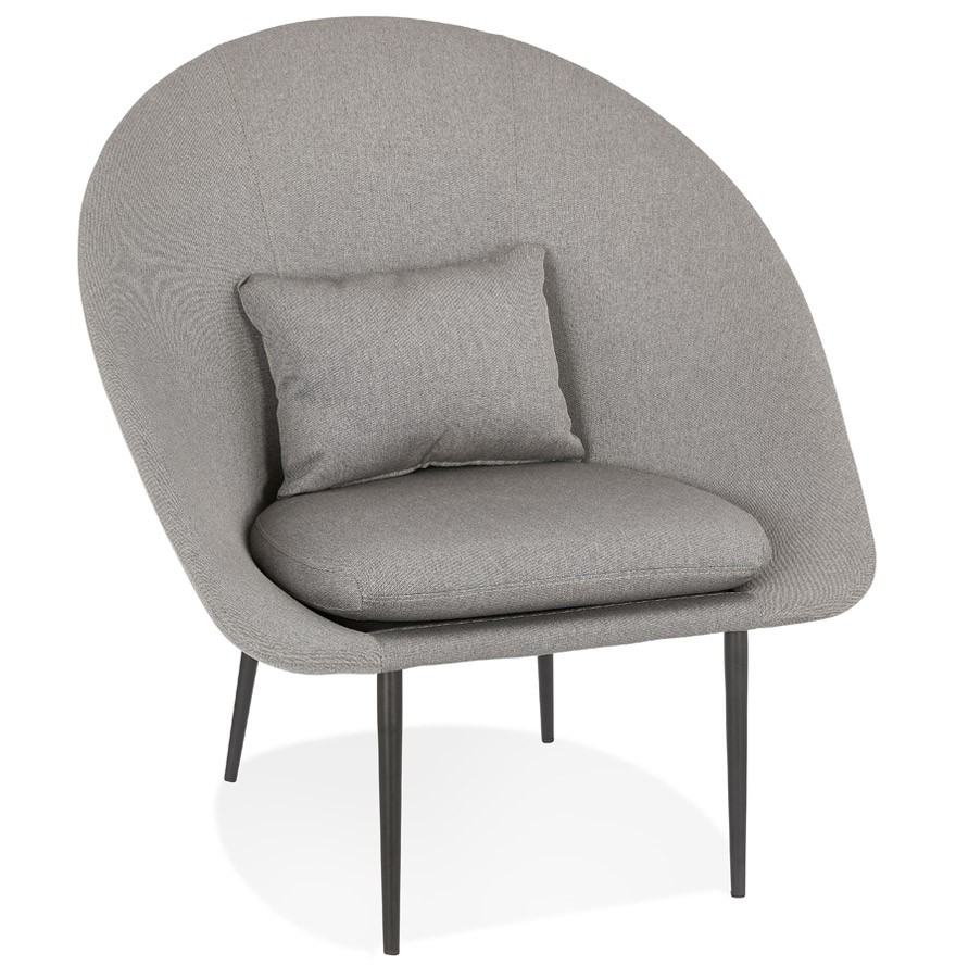 Fauteuil design lounge \'TOTEM\' en tissu gris clair