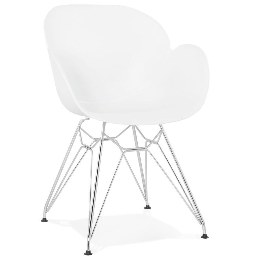 Chaise Moderne UNAMI Blanche En Matiere Plastique Avec Pieds Metal Chrome