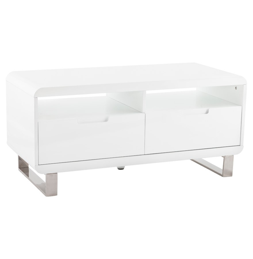 Meuble TV design 'VIDEO' en bois blanc