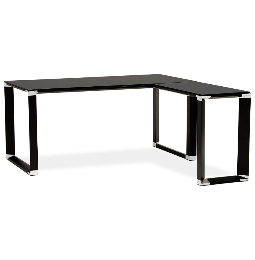bureau d'angle design xline en verre noir - bureau de direction