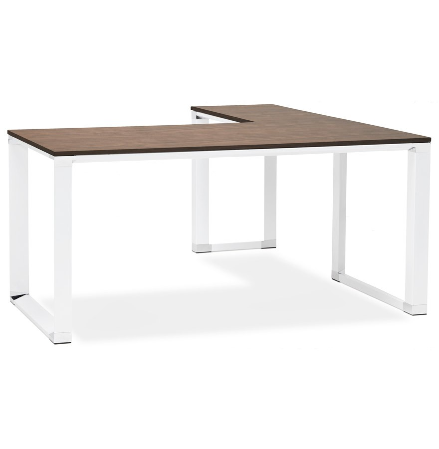 Bureau d 39 angle design xline en bois finition noyer et - Bureau d angle but ...