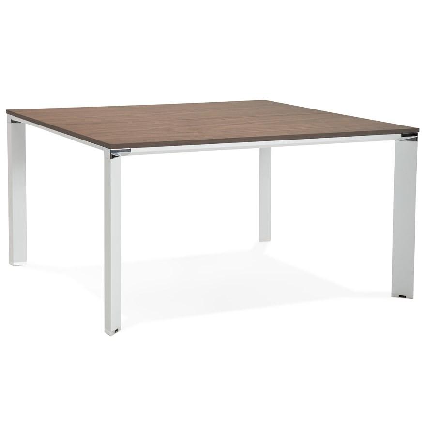 bureau bench xline square blanc avec finition noyer 140x140 cm