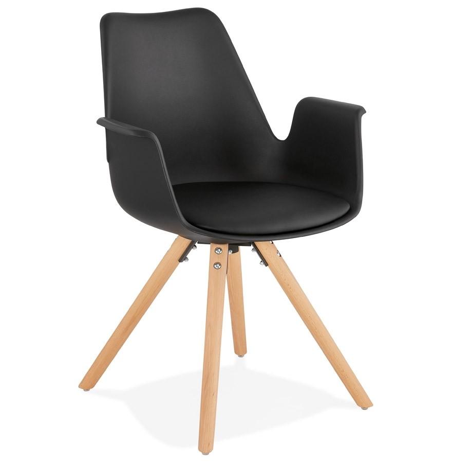 Chaise avec accoudoirs ZALIK noire Chaise scandinave