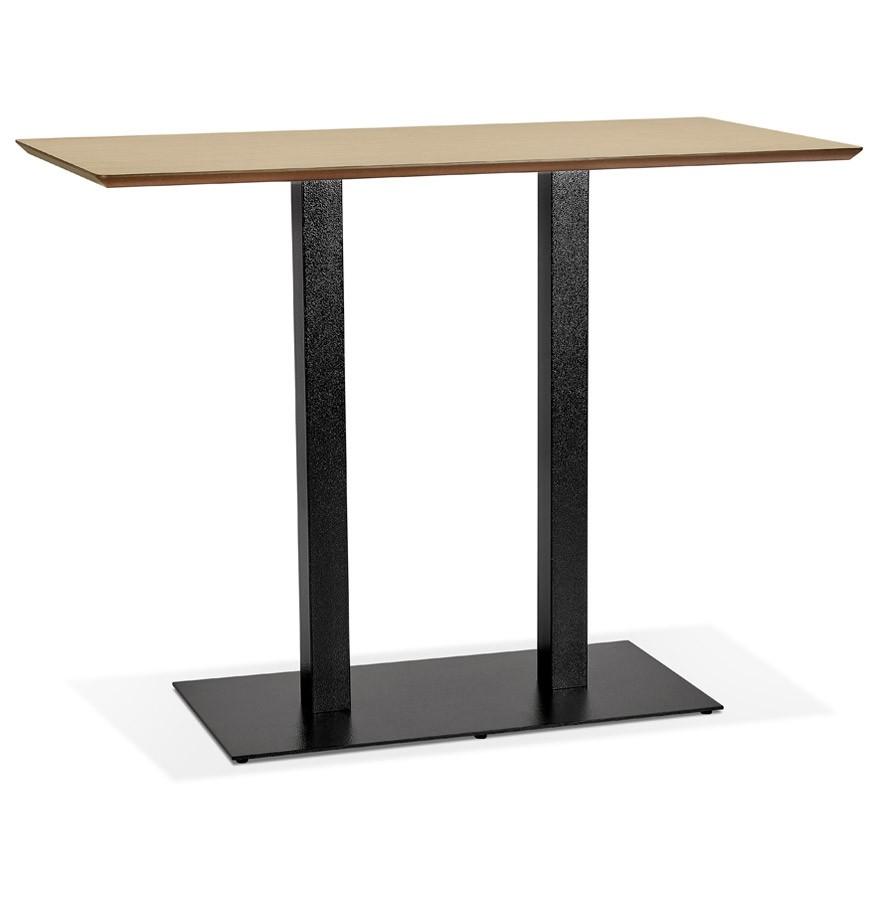 Table Haute Avec Rangement table haute design 'zumba bar' en bois finition naturelle avec pied en  métal noir - 150x70 cm