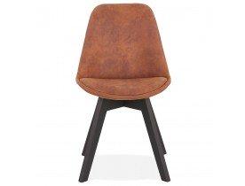 Chaise en microfibre brune 'AXEL' avec structure en bois noir