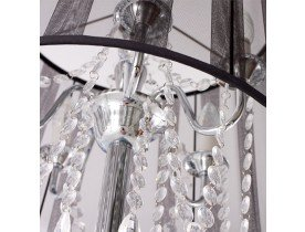 Lampadaire chandelier baroque BAROK' à pampilles tissu noir