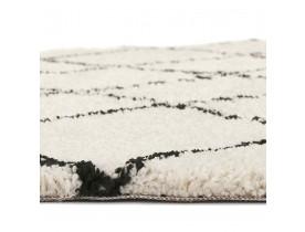Tapis berbère rond 'BERAN' blanc avec motifs noirs - Ø 200 cm