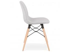 Chaise scandinave 'BIZON' en tissu gris clair