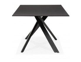 Table de salle à manger 'BIRDY' en verre noir avec pied central en x - 200x100 cm