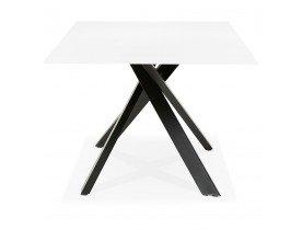 Table à diner design 'BIRDY' en verre blanc avec pied central en x noir - 200x100 cm