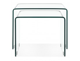 Set de 2 tables gigognes design emboîtables 'BOBBY DOUBLE SIDE' en verre transparent