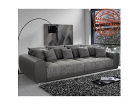 Grand canapé droit 'BYOUTY' gris foncé 4 places en matière synthétique et tissu