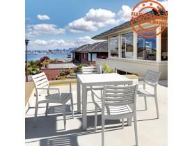 Table de terrasse 'CANTINA' design en matière plastique blanche - 80x80 cm