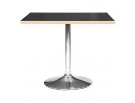 Table carrée 'CASTO SQUARE' noire et pied chromé - 80x80 cm