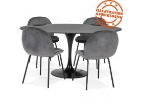 Table à manger design 'CHAMAN' ovale noire en verre effet marbre - 160x105 cm