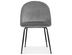 Chaise au style rétro 'CLARENCE' en velour gris clair et pieds en métal noir - commande par 2 pièces / prix pour 1 pièce