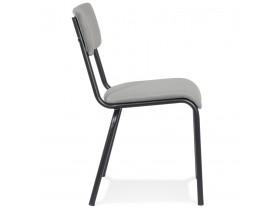 Chaise de cuisine 'CLUSAZ' en velours gris classique empilable
