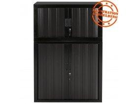 Petite armoire de bureau à rideaux 'CLASSIFY' noire - 72x80 cm