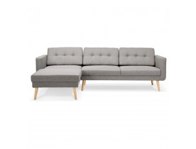 Canapé d'angle 'COLONEL' gris clair avec méridienne (angle à gauche)