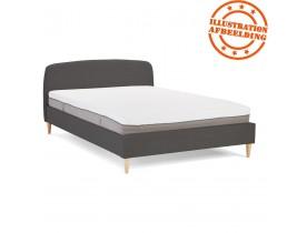 Lit 2 personnes 'DREAM' avec revêtement en tissu gris anthracite - 140x200 cm