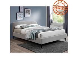 Lit 2 personnes 'DREAM' avec revêtement en tissu gris clair - 140x200 cm