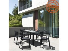 Table de jardin 'ENOTECA' design en matière plastique noire - 140x80 cm