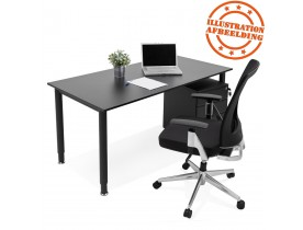 Table de réunion / bureau design 'FOCUS' noir - 160x80 cm