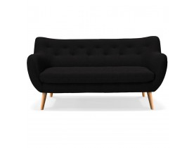 Canapé droit 3 places 'GASPARD' en tissu noir