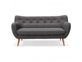 Canapé droit 3 places 'GASPARD' en tissu gris foncé