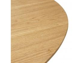 Table à dîner  / de bureau ronde design 'GLOBO' en bois finition naturelle et pied central en métal blanc - Ø120 cm