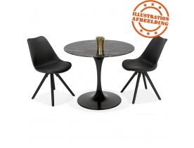 Table à manger design 'GOST' ronde noire en verre effet marbre - Ø 90 CM