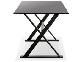 Table à diner / bureau design 'HAVANA' en verre noir - 160x80 cm
