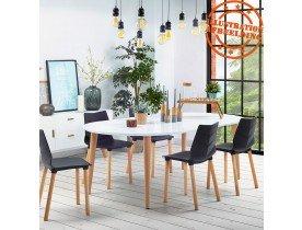 Table à dîner ronde extensible 'IGLOU' style scandinave - 120(220)x120 cm