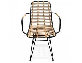 Chaise avec accoudoirs 'BASTIA' en rotin couleur naturelle et métal noir - intérieur / extérieur