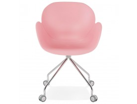 Chaise de bureau design 'JEFF' rose sur roulettes