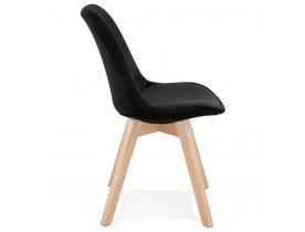 Chaise en velours noir 'JOE' avec structure en bois naturel