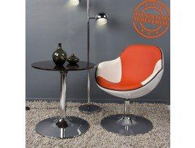 Fauteuil design 'KOK' pivotant blanc et rouge style retro