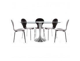 Table à dîner design 'KRYSTAL' ovale en verre - 160x108 cm