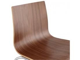Tabouret haut 'KWATRO' empilable en bois finition Noyer sur 4 pieds